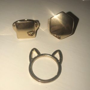Super cute gold paired rings